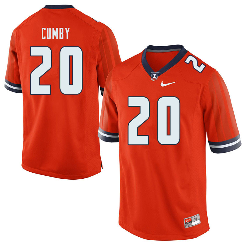 Men #20 Kyron Cumby Illinois Fighting Illini College Football Jerseys Sale-Orange